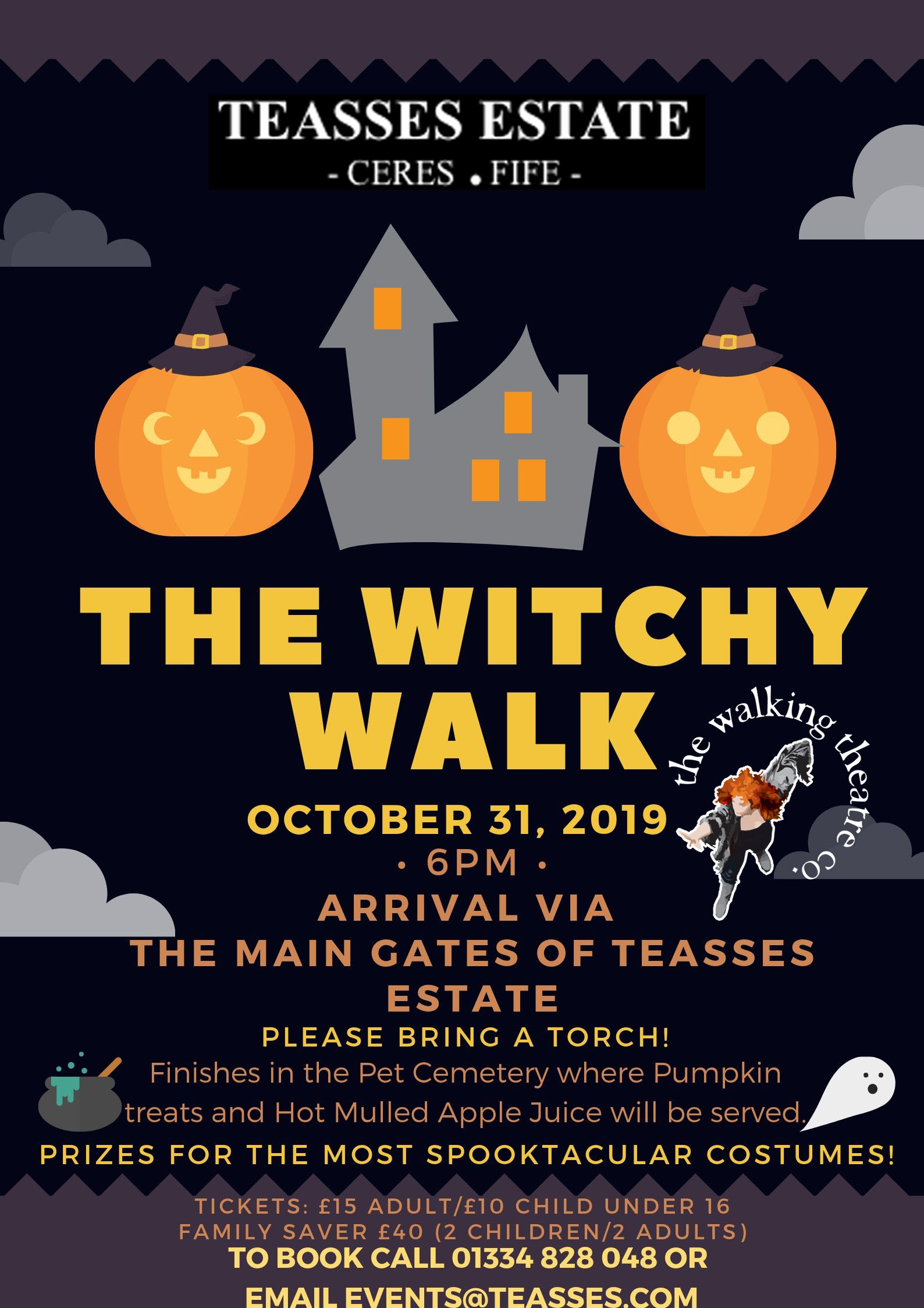 Teasses; Estate; Witchy; Walk; Walking Theatre company; Halloween; Hallowe'en